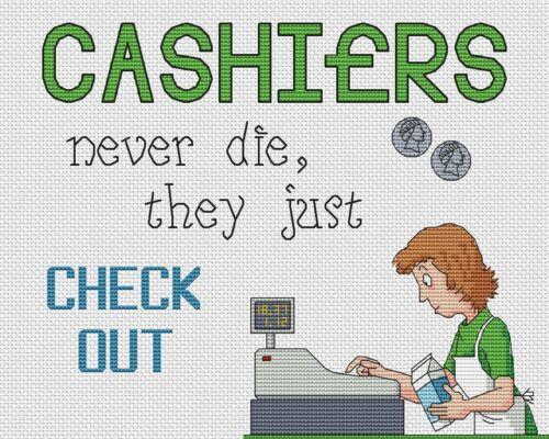 "Cashiers Check Out Cross Stitch Design 10/""x8/"",25x20cm,kit//chart"