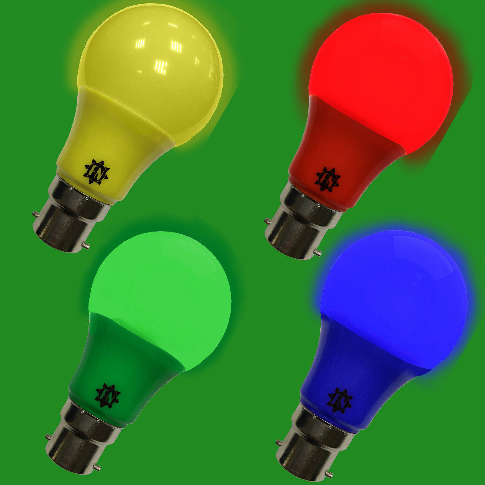 12x 6w Led Farbig A60 GLS Glühbirne Lampen BC B22 Rot, Blau, Grün, Gelb