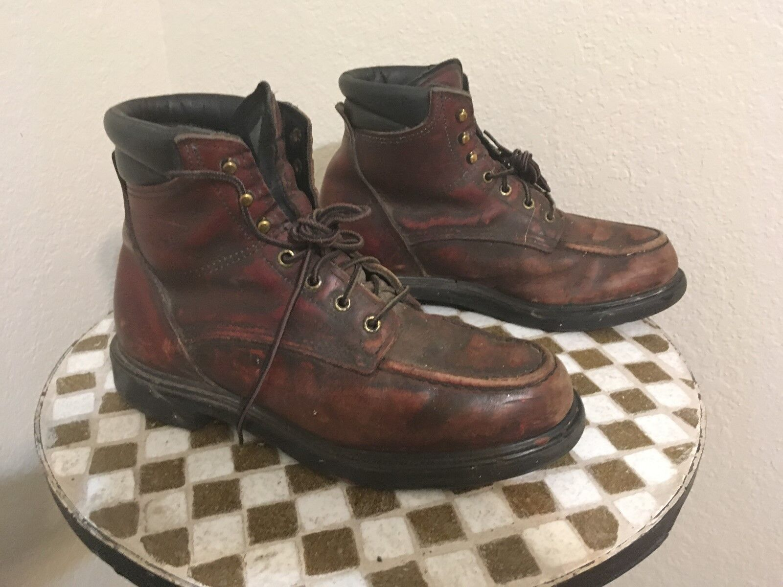 PAINTER BOOTS  A OXBLOOD REDWING 202 DISTRESSED RANCH WORK BOOTS 8.5 D