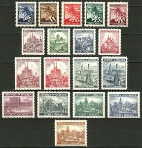 DR-Nazi-3rd-Reich-Rare-WW2-Stamp-Castles-Towers-Church-Occupation-Czech