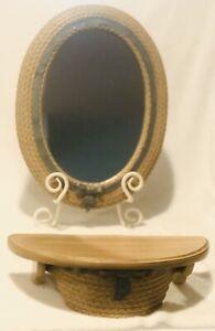 Home-Interior-HOMCO-Burwood-Wicker-Look-Mirror-amp-Shelf-Wall-Decor