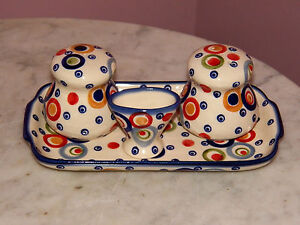 Genuine-Polish-Pottery-Salt-Pepper-Toothpick-Tray-Set-Happy-Happy-Pattern-MOD