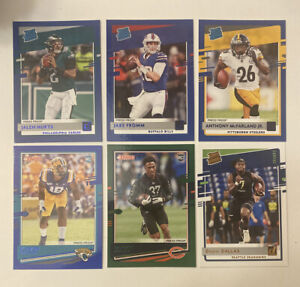 2020-Donruss-Jalen-Hurts-Jake-Fromm-Rated-Rookie-Blue-Press-Proof-SP-Green-Lot