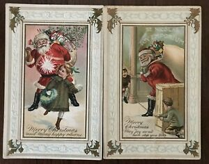 Lot-of-2-Santa-Claus-with-Children-Holly-Antique-Christmas-Postcards-a110