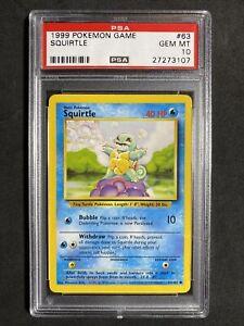 ?Pokemon PSA 10 Base Set Unlimited Non Holo Gem Mint Squirtle #63