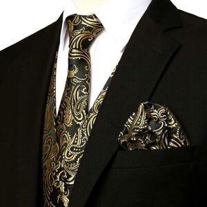 ZEROYAA Men's 3pc Paisley Jacquard Vest Set Necktie Pocket Square Set for Suit o