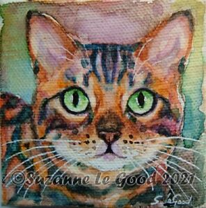 Bengal cat art painting canvas easel original watercolour by Suzanne Le Good