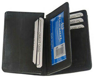 Black-Mens-Genuine-Leather-ID-Bifold-Credit-Card-Expandable-Holder-Center-Flap