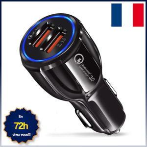 CHARGEUR-TELEPHONE-VOITURE-ALLUME-CIGARE-DOUBLE-PORT-USB-CHARGE-RAPIDE