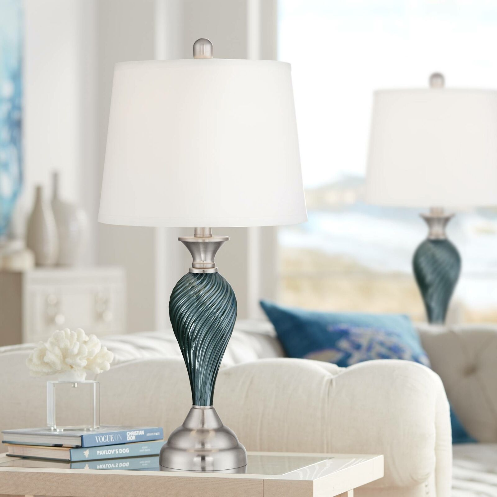 Modern Table Lamps Set Of 2 Green Blue Glass Twist Column Living Room Bedroom For Sale Online