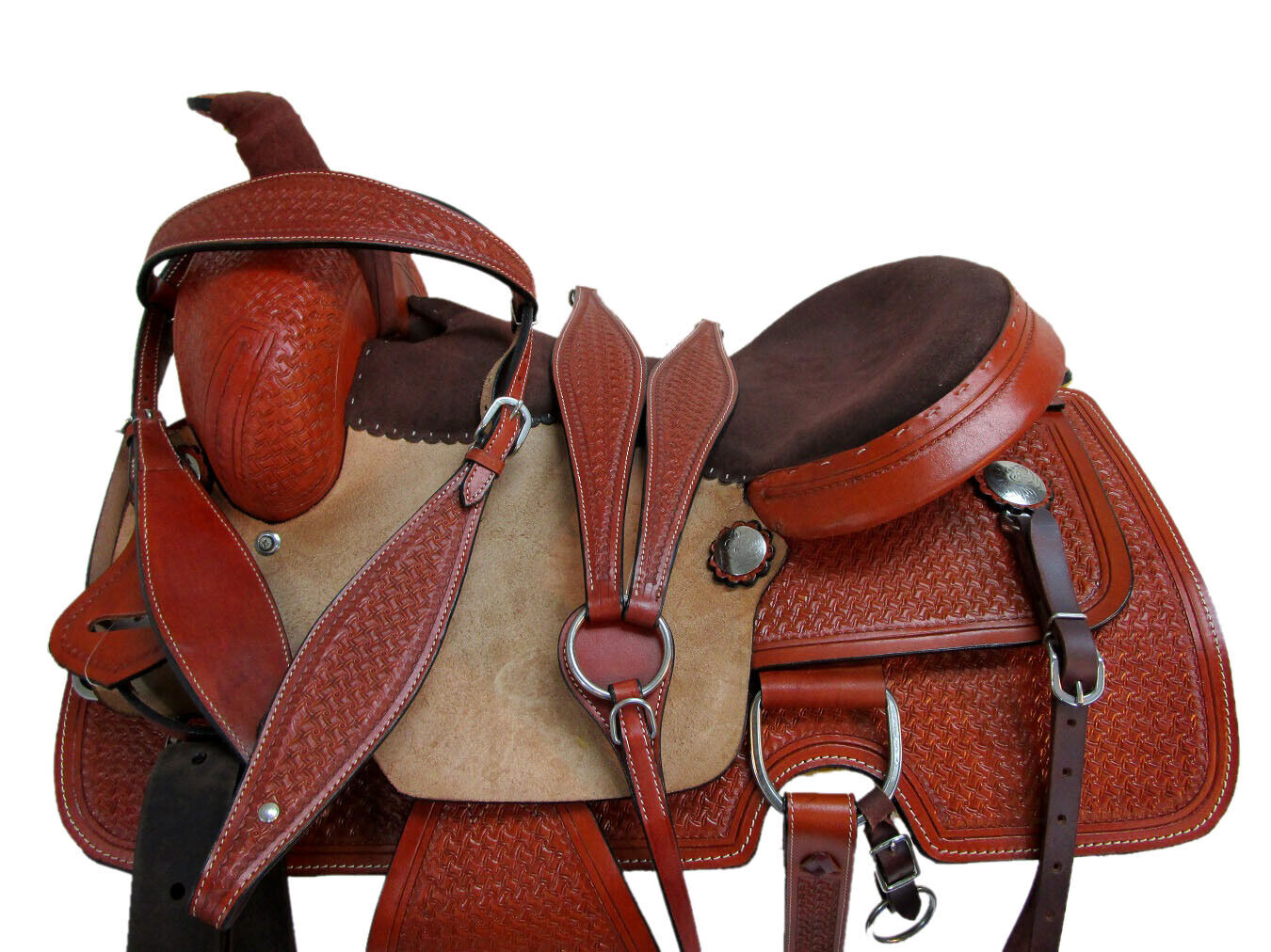 COWBOY WESTERN SADDLE TOOLED LEATHER PLEASURE TRAIL HORSE ROPING RANCH SET 16 17