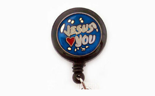 JESUS LOVES YOU Retractable Badge ID Holder Key chain ring Security Reel Black