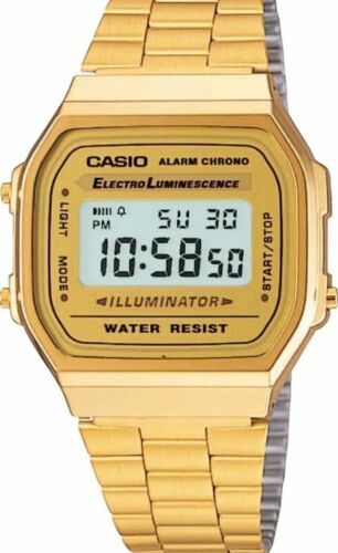 1 von 1 - Casio A168WG-9EF Retro Klassiker Digitaluhr Uhr Goldfarben Gold Unisex
