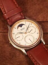 Vintage SEIKO QUARTZ MOON PHASE  7F39-6029 Watch for repair or parts