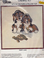 Puppy Love Crewel Kit Sealed D301 Vintage 1974 Family Circle Crafts 14x14