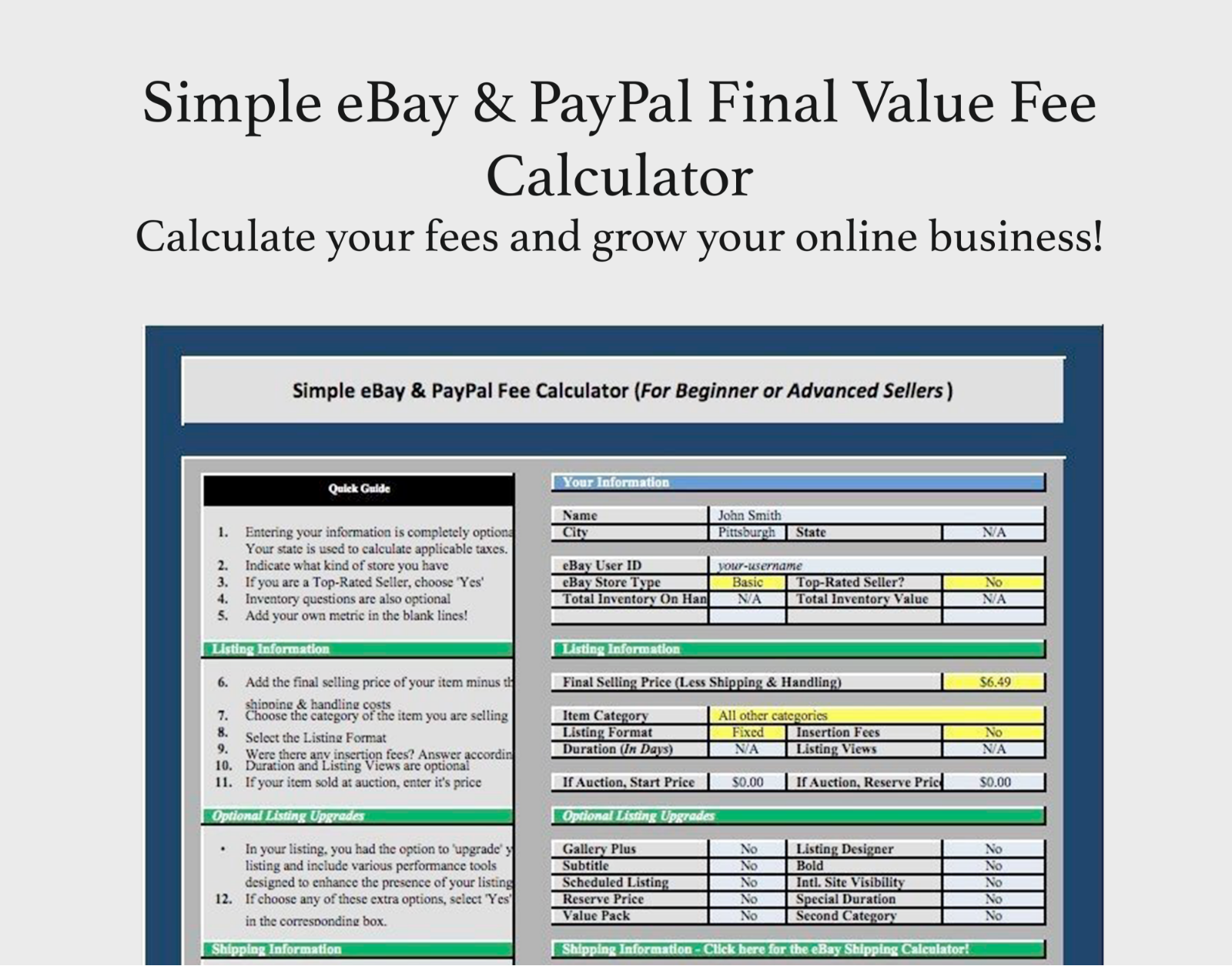 Super Simple 2018 Usa Ebay Paypal Final Fee Calculator Ms Excel For Sale Online Ebay