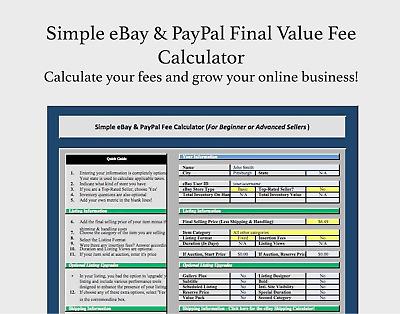Simple Ebay Paypal Final Value Fee Calculator Selling Microsoft Excel Free Ebay