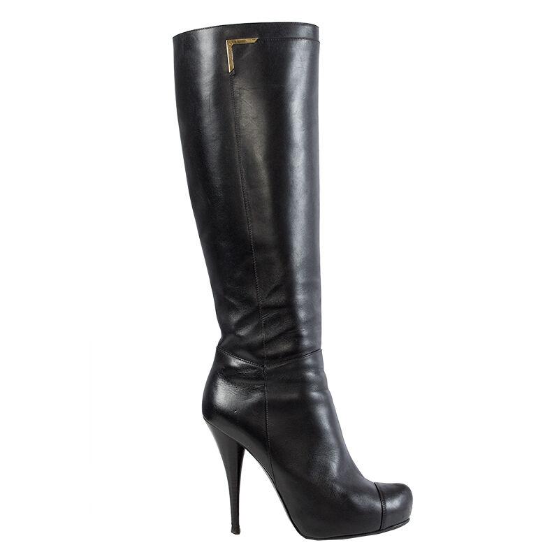 incredibili sconti 40513 auth FENDI nero leather Knee-High Knee-High Knee-High Platform stivali scarpe 38  con il prezzo economico per ottenere la migliore marca