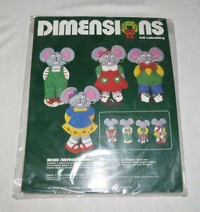 Dimensions-Filz-Bestickt-1984-Maus-Uberraschung-Ornament-Set-Neu-Im-Paket