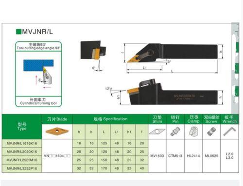 MVJNR2525M16 25 x150mm  93° Lathe External Turning Tool Holder For VNMG1604