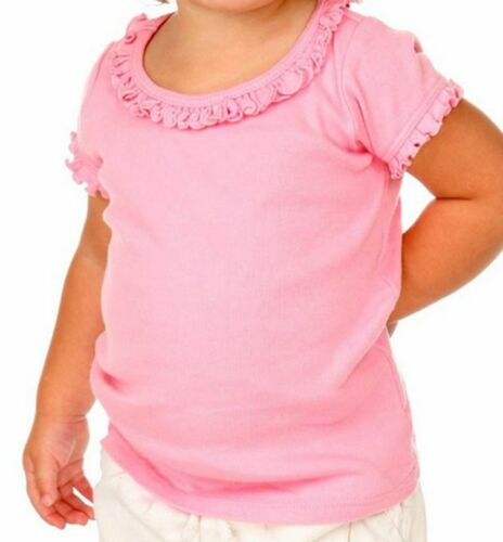 Blank Ruffle Trimmed Girls T Shirt 100/% Cotton Transfer Embroidery Crafts COLORS