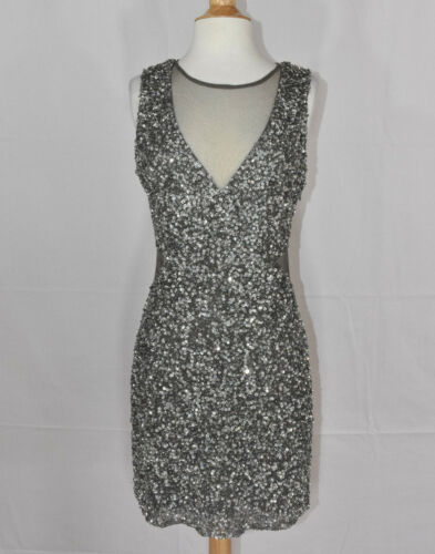 PARKER WOMENS CASUAL ABOVE KNEE SILVER SEQUIN BEADED DRESS S//M