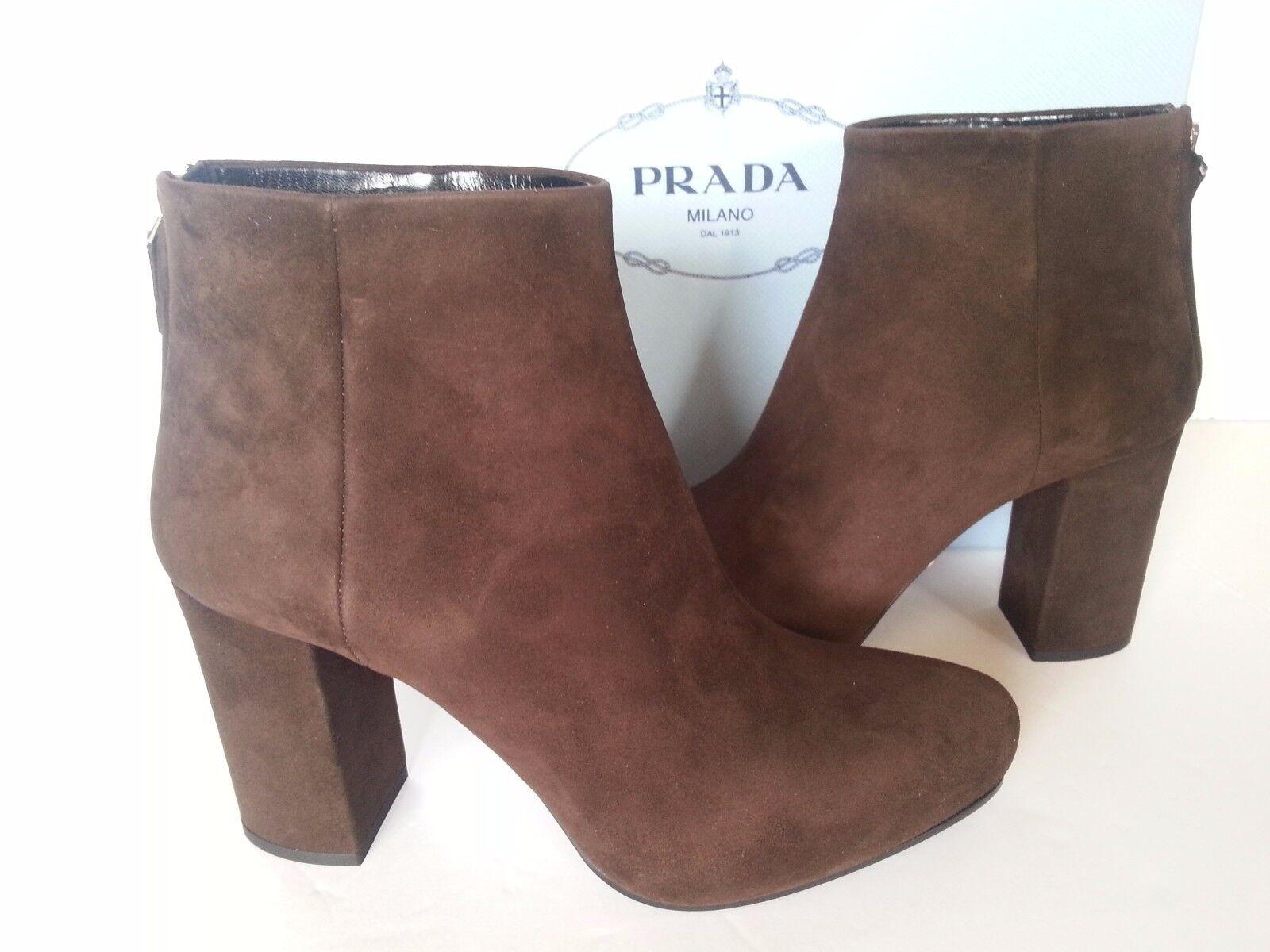 NEW NEW NEW PRADA Suede Platform Ankle démarrageies 85 mm Heels bottes marron 37   7 US f665c5