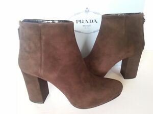 b2a860ff2ac9 NEW PRADA Suede Platform Ankle Booties 85 mm Heels Boots Brown 37 7 ...