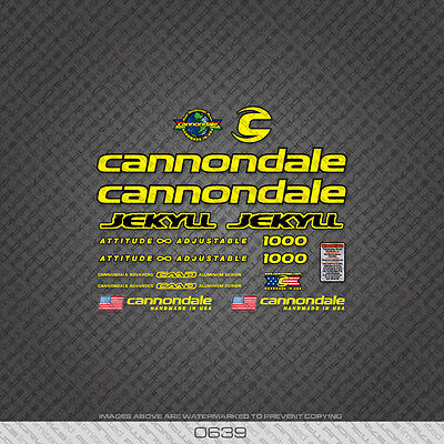 Yellow 0720 Cannondale Fatty Bicycle Stickers Decals Transfers
