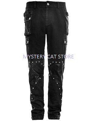 New PUNK RAVE Heavy Metal Rock Gothic Black pants K-264 ALL STOCK IN AUSTRALIA