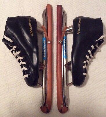 Vtg Zandstra Speed Ice Skates Size European 39(US Men's 7 1/2-8)Leather Guards