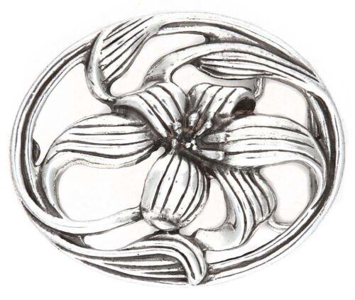 Geschenk Geburtstag Muttertag Flora Blumenkopf Damen Gürtelschnalle silber