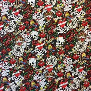 QT45 ED HARDY Skull Tattoo Art Hard Rock Love Roses Floral Cotton ... : tattoo quilt fabric - Adamdwight.com