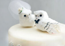 Snowy Owl Wedding Cake Topper in Winter White: Rustic Bride and Groom Love Birds