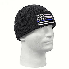 Thin Blue Line Knit Hat Embroidered Watch Cap Beanie Police Support  USA Flag
