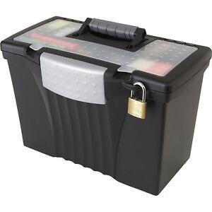 Image Is Loading Portable Locking File Storage Box With Organizer Lid