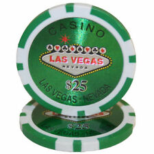 "25 ct Green $25 Twenty-Five Dollars ""Las Vegas"" Series 14g Poker Chips Laser Gfx"