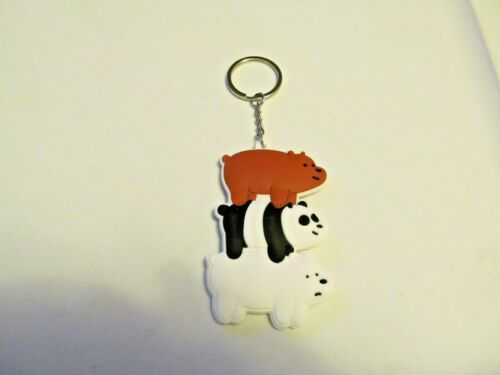 NEW We Bare Bears  Double Sided Rubber Keychain