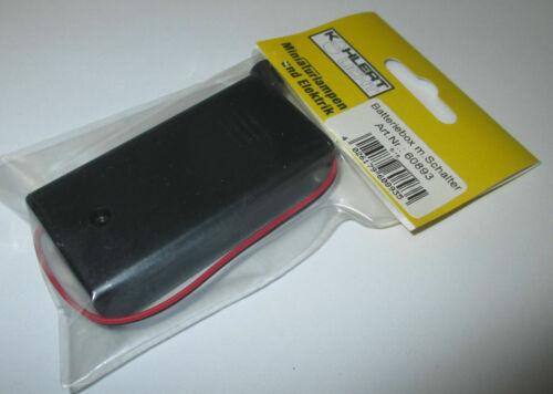 Kahlert Batteriebox avec Commutateur pour 2 x 1,5 v piles AA * NOUVEAU//Neuf dans sa boîte * 60893