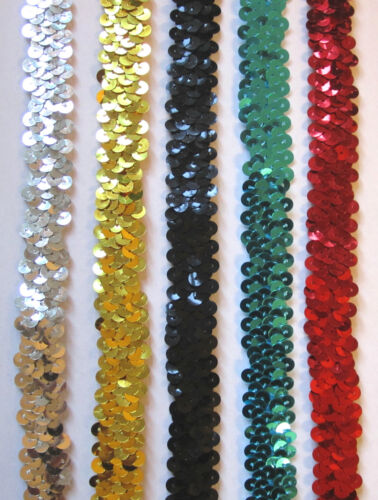 "Si 3//4/"" 20mm Stretch Sequin Trim Per Mtr Assorted Colours"