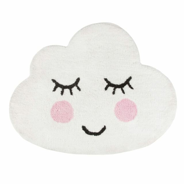 SASS & BELLE SWEET DREAMS SMILING CLOUD FLOOR SHAPED RUG 100% COTTON BOYS GIRLS
