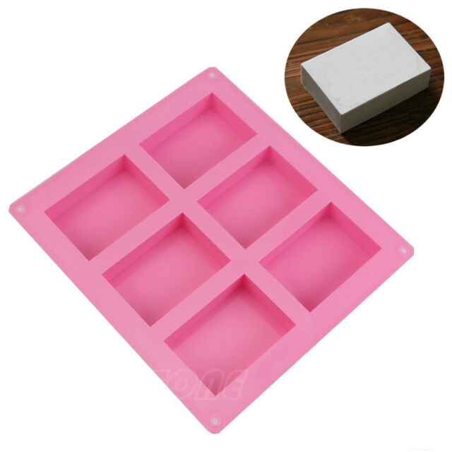 Silicone 6-Cavity Rectangle Soap Cake ice Mold Mould Tray For Homemade Craft DIY