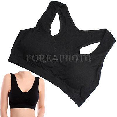 Women Leisure Fitness Seamless Top Tank Sports Yoga Racerback Padded Bra Black