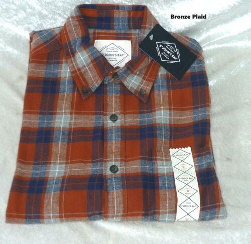 St Johns Bay Mens Long Sleeve Flannel Shirt Plaid size S M L XL XXL NEW