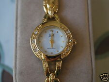 New Q&Q by Citizen Gold Tone Lady Dress Watch w/White Dial & Diamond Bezel