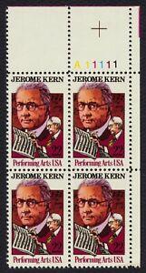 #2110 22c Jerome Kern, Placa Bloque [A11111 Ur ] Nuevo Cualquier 4=