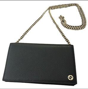 4e479ae4fd2 Image is loading New-GUCCI-black-wallet-chain-WOC-purse-crossbody-