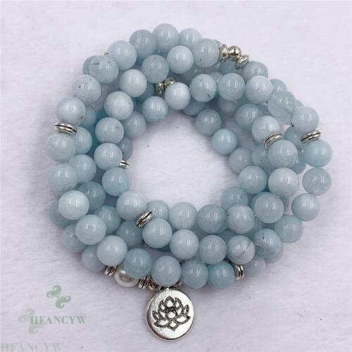 8mm Blue Chalcedony 108 Beads Lotus Necklace Bracelet Colorful Handmade Fancy
