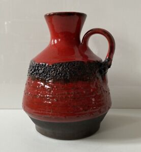 STUDIOKERAMIK Vase Keramik Fat Lava rot  60er 70er WGP