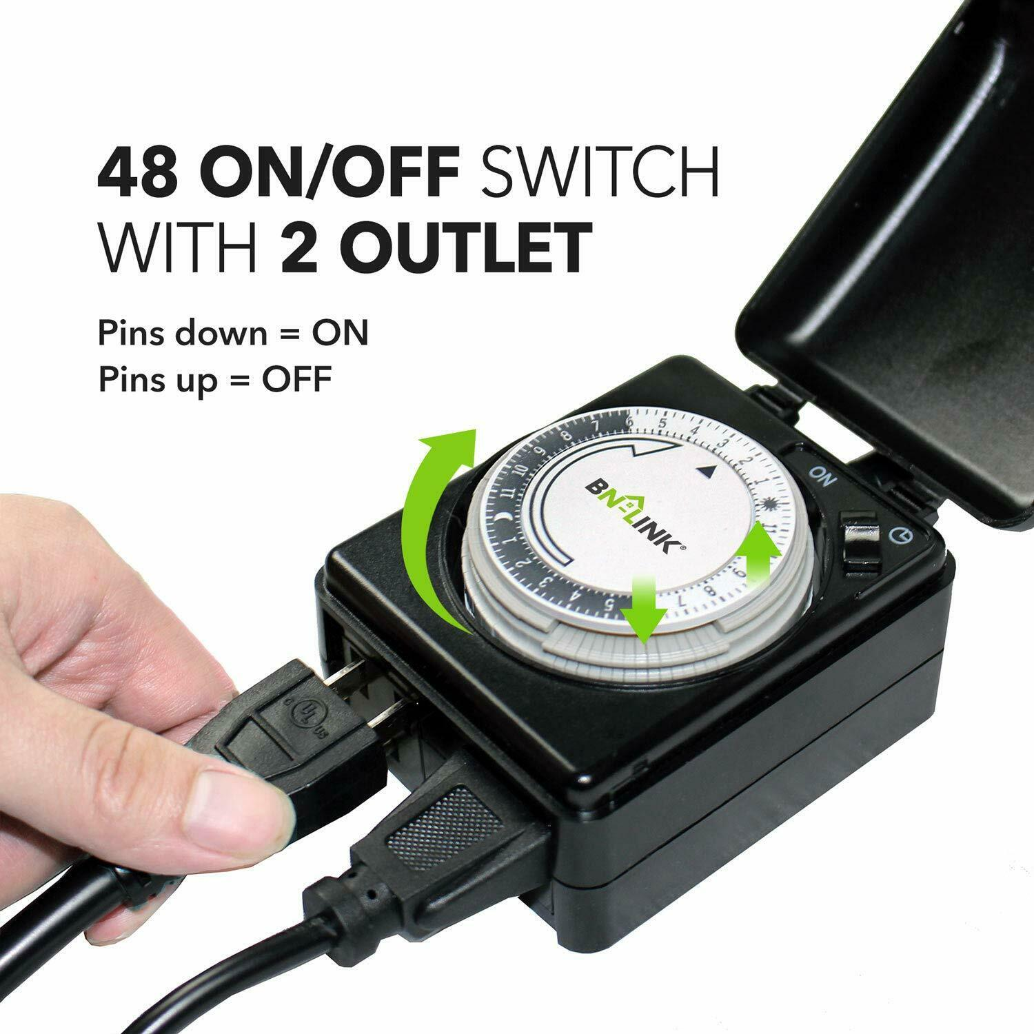 BN-LINK 24 Hour Mechanical Dual Outlet Outdoor Timer Plug in Heavy Duty Outlet